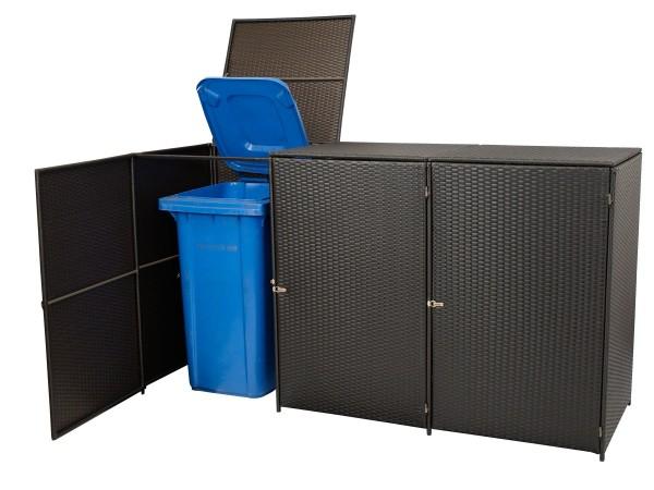 Mülltonnenbox 3-er groß, Stahl + Polyrattan mocca