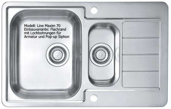 Alveus Line Maxim 70 Edelstahl Spüle seidenmatt Flachrand 1085960
