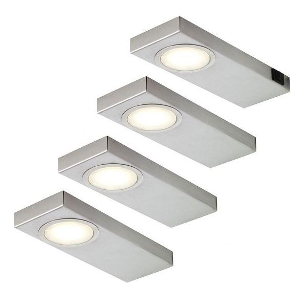 LED Quadra Sun warmweiß 4er-Set inkl. Konverter und Masterschalter