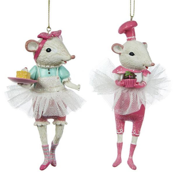 TULLE CHEF MOUSE ORN ASS/2 WH/PNK - 2er Set