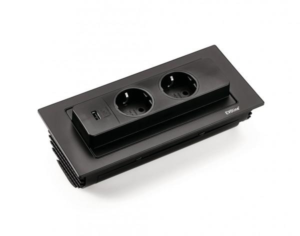 Steckdosenelement Evoline® Backflip-USB schwarz