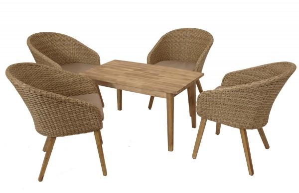 Lounge Garnitur VALLETTA 5-teilig, Geflecht + Akazienholz