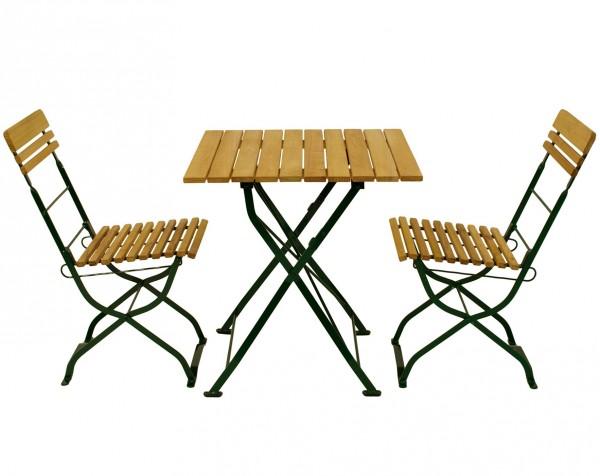 Biergarten - Garnitur 3-teilig, Flachstahl grün + Robinie