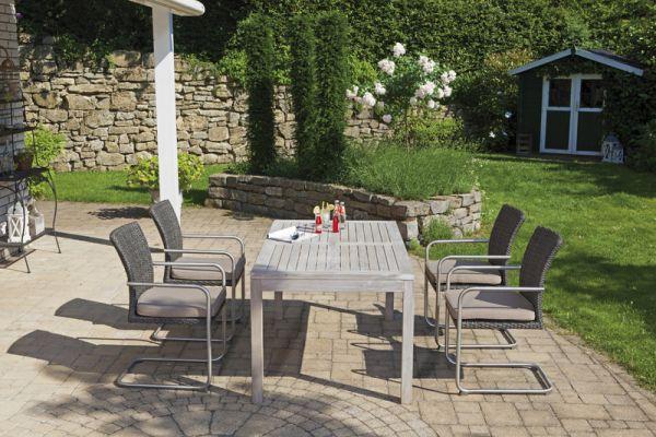 Gartenmöbel Set Freischwinger Sessel vintage-grau und Tisch Teak grey-washed
