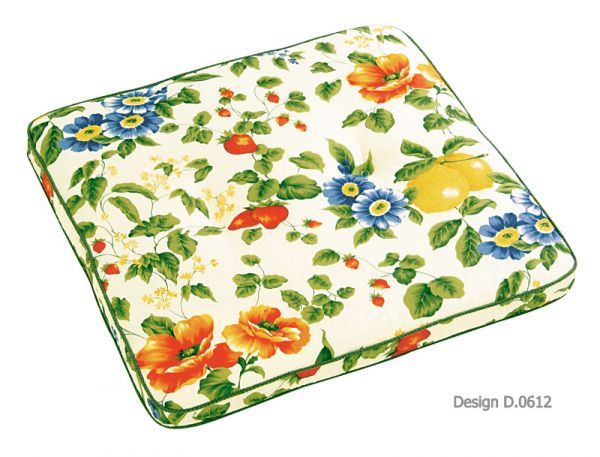 BEST Stuhlauflage Blumen eckig Stegform 03040612