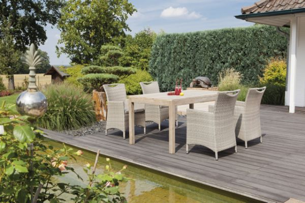 Gartenmöbel Set Cardinal Antik-grau mit Tisch Old Teak grey-washed