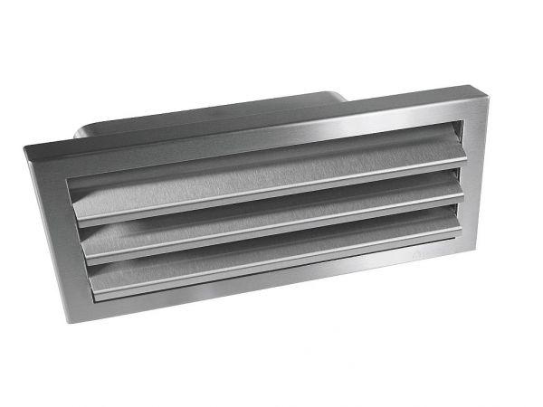 Außengitter Edelstahl mit Flachanschluss und Rückstauklappe, 150 Power
