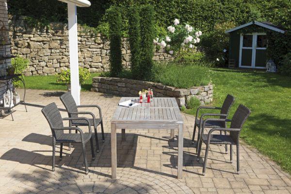 Gartenmöbel Set Stapelsessel Alu/Rattan vintage-grau und Tisch Teak grey-washed 160 x 90 cm