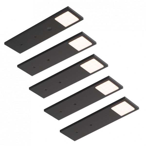 LED Leuchte Lago schwarz mit Touch-Schalter 5er-Set