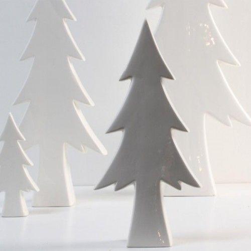 Deko Tannenbaum Keramik creme 22 cm