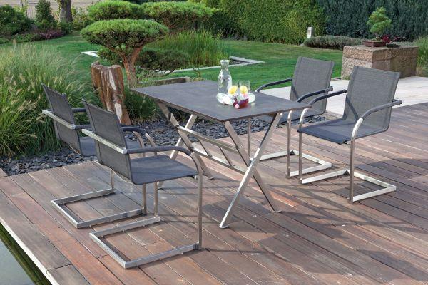 Wohnen Und Garten Outdoor Küche : Gartenmöbel set infinity edelstahl textilene klapptisch edelstahl