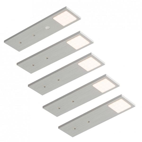 LED Leuchte Lago Edelstahl-Optik mit Touch. Schalter - 5er-Set