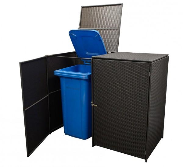 Mülltonnenbox 2-er klein, Stahl + Polyrattan mocca