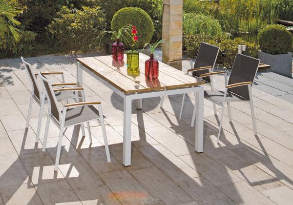 Gartenmöbel Set Fresno Aluminium Weiss Tisch Old Teak Natur
