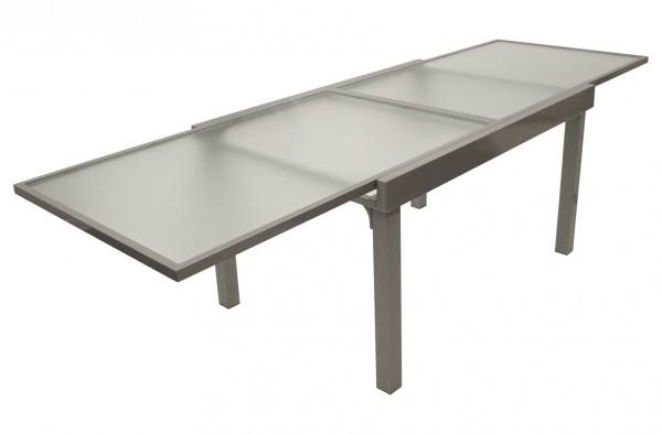 Ausziehtisch 135/270x90cm, Aluminium silbergrau + Glasplatte