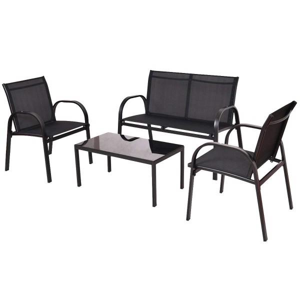 Loungeset 4-teilig, Metall schwarz Textilgewebe