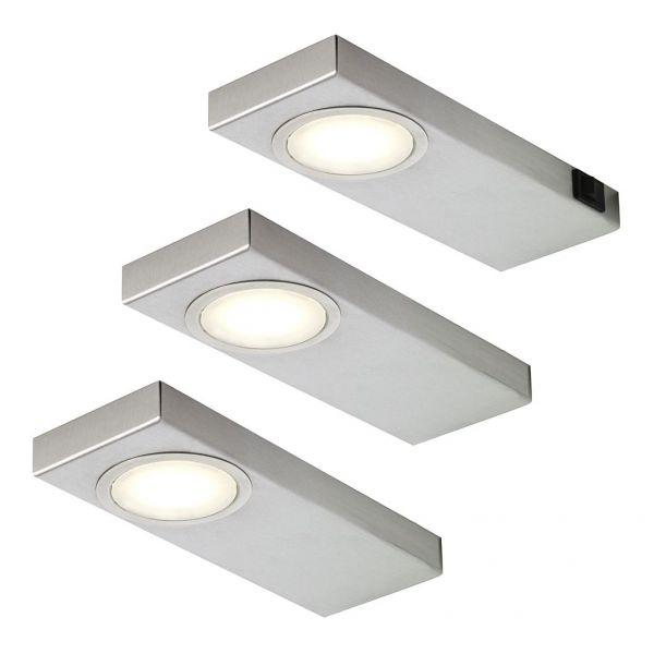 LED Quadra Sun warmweiß 3er-Set inkl. Konverter und Masterschalter