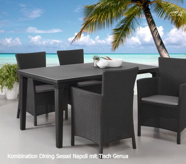 BEST Dining Set Napoli graphit/hellgrau 9teilig