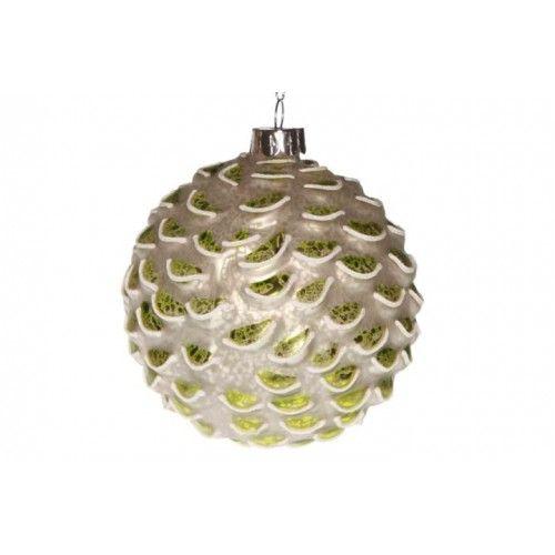 Weihnachtskugel grün-weiß - 2er Set