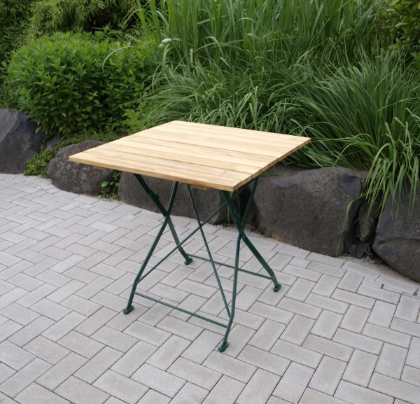 Klapptisch BAD TÖLZ 70x70cm, Flachstahl grün + Robinie