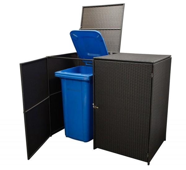 Mülltonnenbox 2-er groß, Stahl + Polyrattan mocca