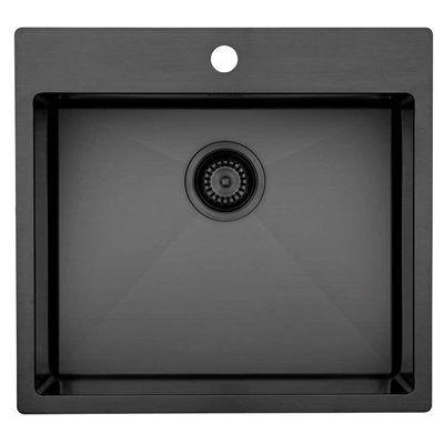 Lavabo Kubus 540 soft black shadow Edelstahlspüle