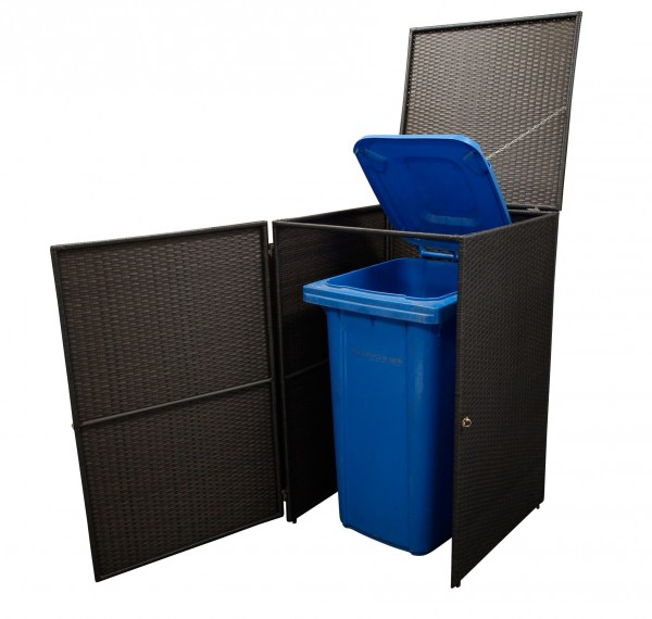 Mülltonnenbox 1-er klein, Stahl + Polyrattan mocca