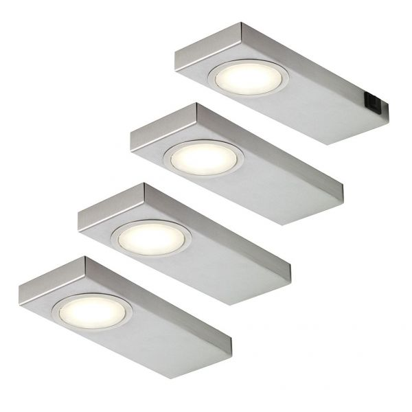 LED Quadra Sun neutralweiß 4er-Set inkl. Konverter und Masterschalter
